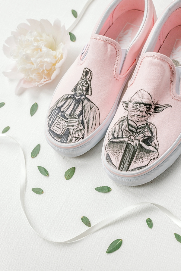 Gorgeously chic hand painted pink Star Wars bridal shoes with Darth Vader and Yoda sketches