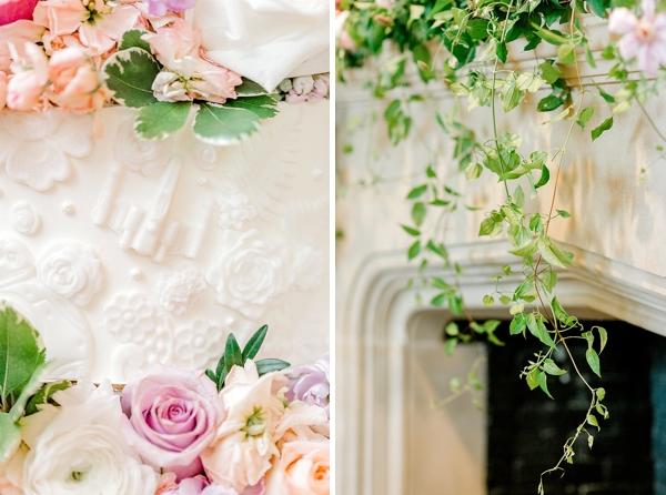 Elegant garden wedding details with ivy