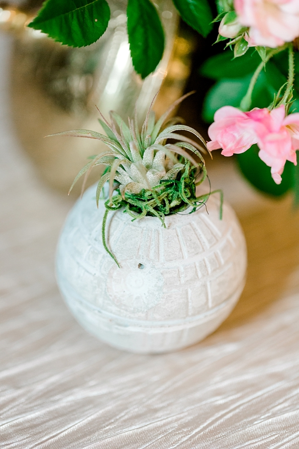 Concrete Death Star air plant planter for elegant Star Wars wedding