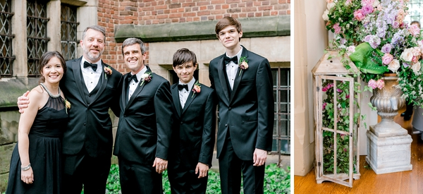 Groomsmen and groomsmaid wedding photo idea in black tuxes and a black dress