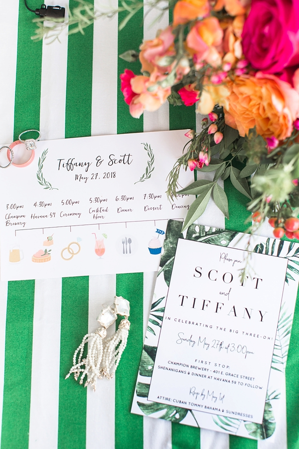 Tropical surprise wedding timeline and fake birthday invitation with monstera leaves