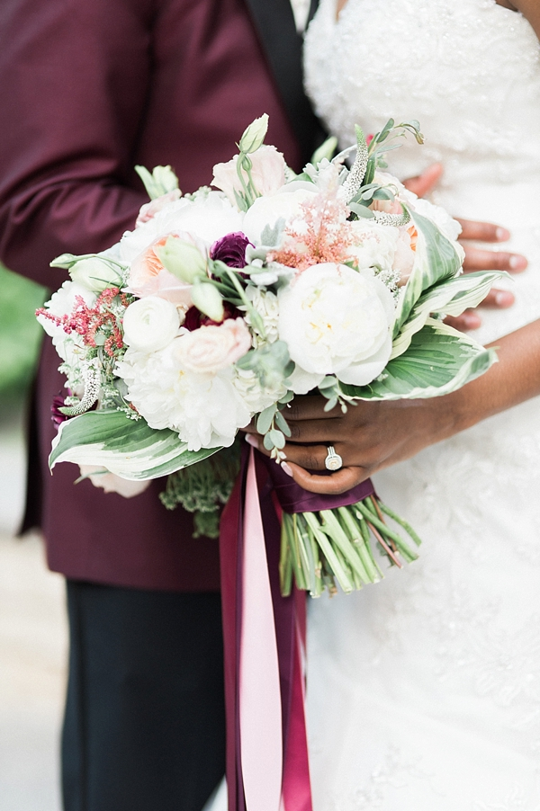 White and burgundy red bridal bouquet
