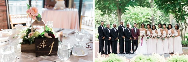 Bridesmaids in blush and groomsmen in black tuxedos