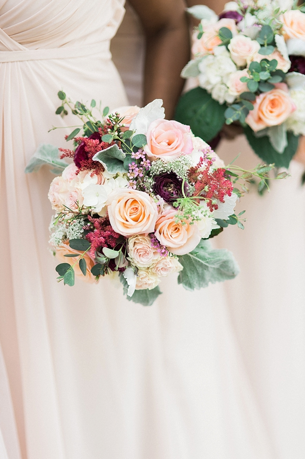 Peach burgundy bridesmaid bouquet