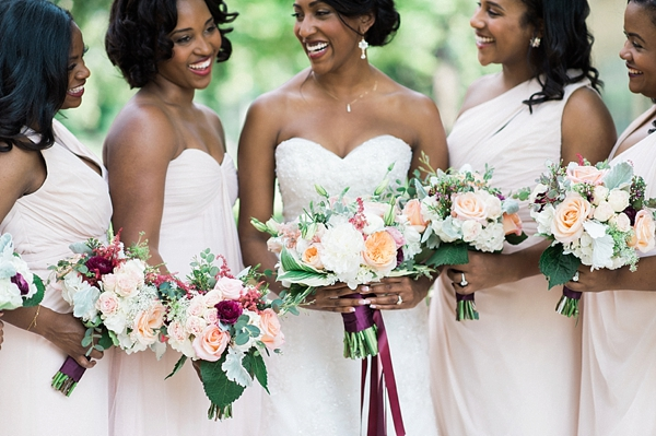 White and peach wedding bouquets