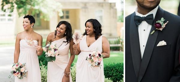 Bridesmaids holding paper pinwheels