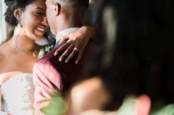 Black bride and groom elegant and romantic wedding moment