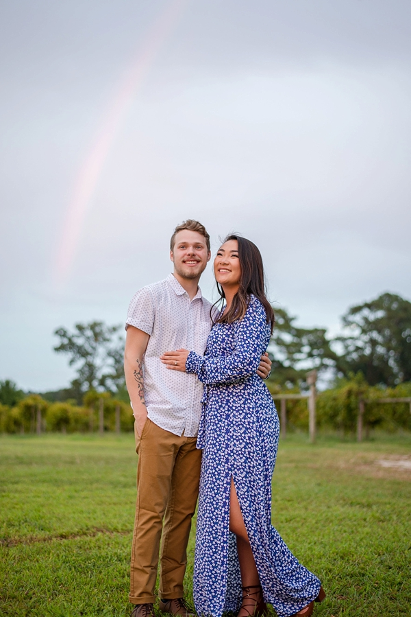 Smithfield Virginia engagement session with a rainbow in the sky