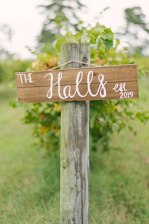 Wooden sign hand painted with future married name and wedding date