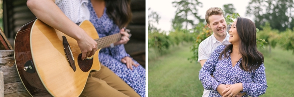 Playing guitar at an engagement session