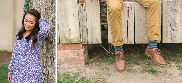 Casual chic outfit ideas for rustic engagement photos