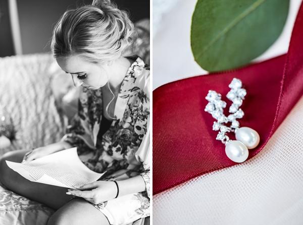 Pearl pendant earrings for classic bride
