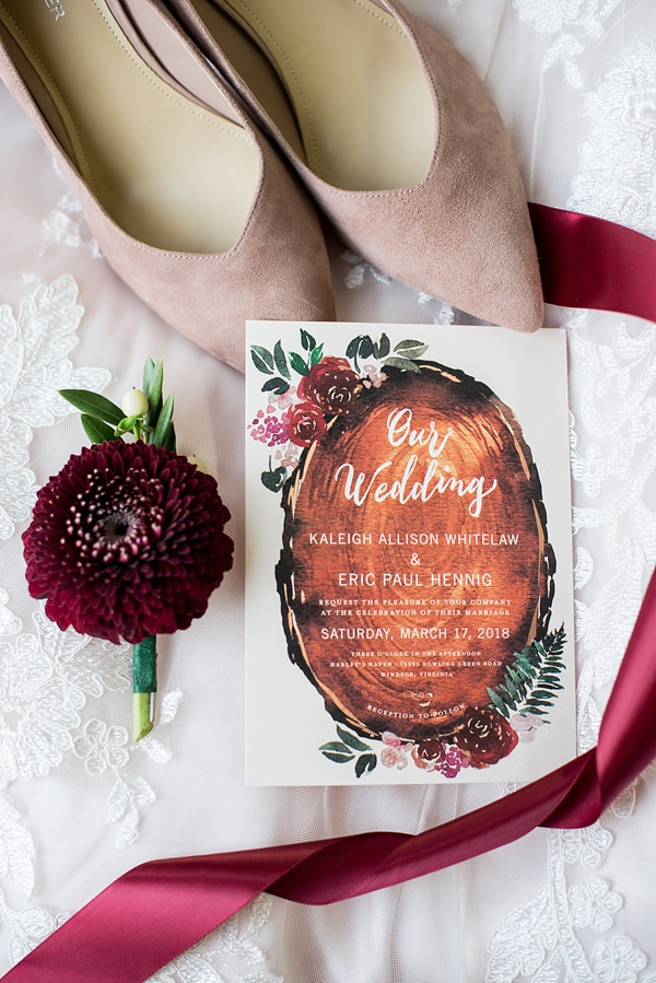 Rustic watercolor wedding invitation with florals and wood slab