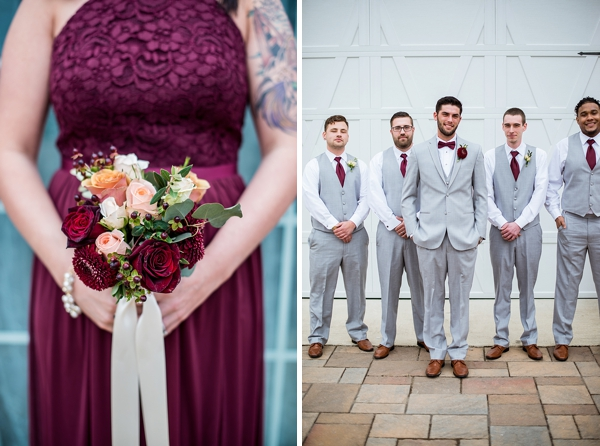 Burgundy red ties and dresses for rustic wedding party