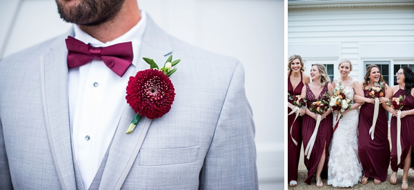 Red groomsman boutonniere