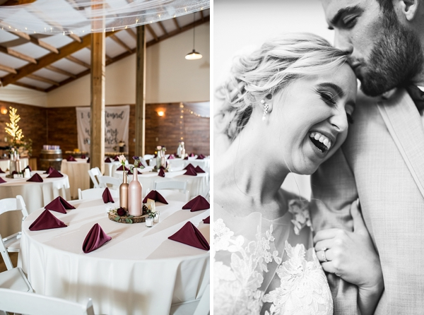Simple rustic wedding reception with gold bottles and red linen napkins