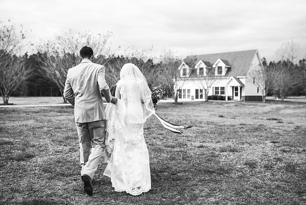 Bride and groom for rustic wedding at Harleys Haven in Windsor Virginia