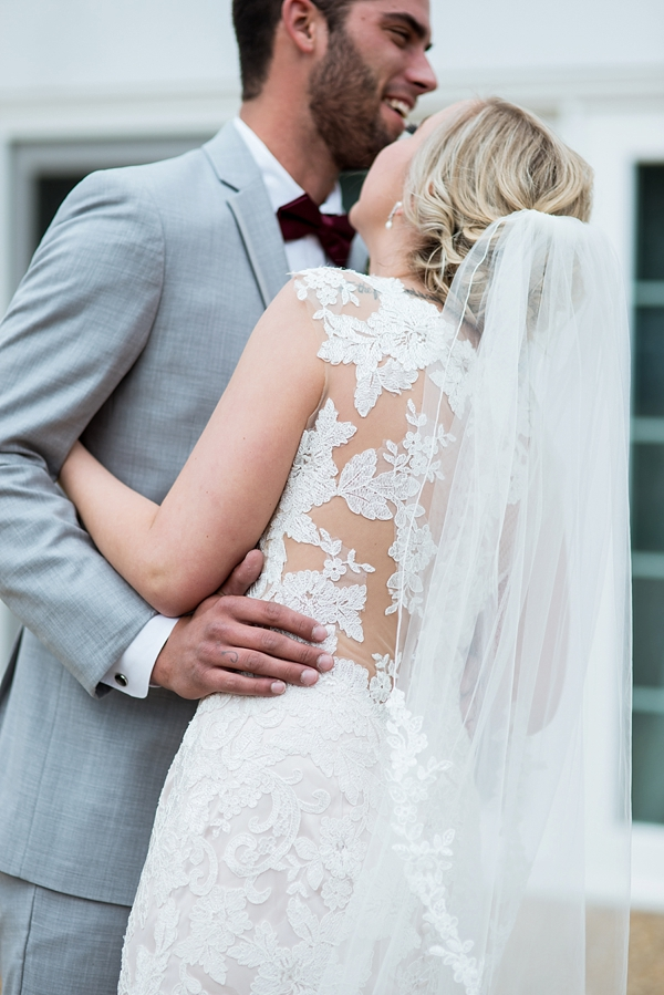 Gorgeous statement lace appliqués on bridal gown back