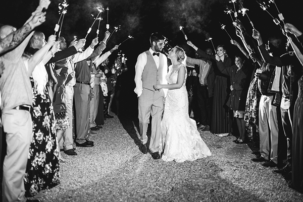 Harleys Haven rustic wedding venue for sparkler exit