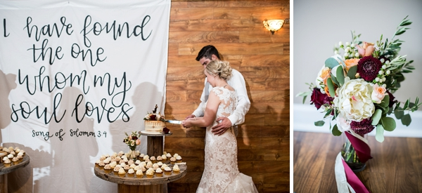 Rustic wedding cake display with Bible verse banner