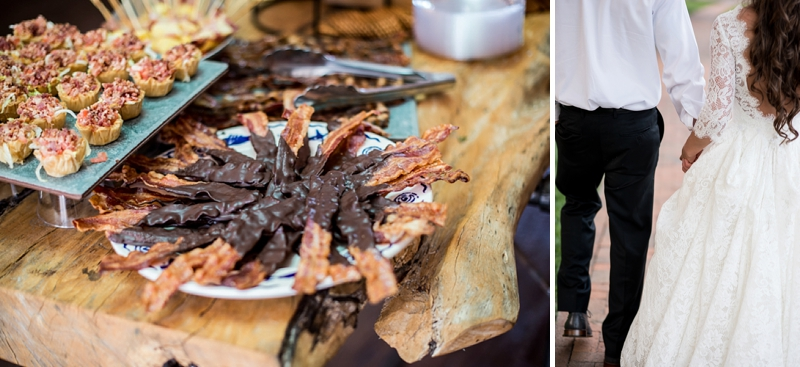 Chocolate covered bacon for fun sweet and salty treat for a Smithfield Virginia wedding