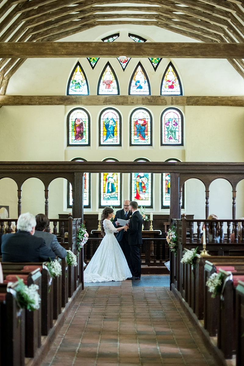 Gorgeous classic wedding ceremony at Historic St Lukes Church in Smithfield Virginia