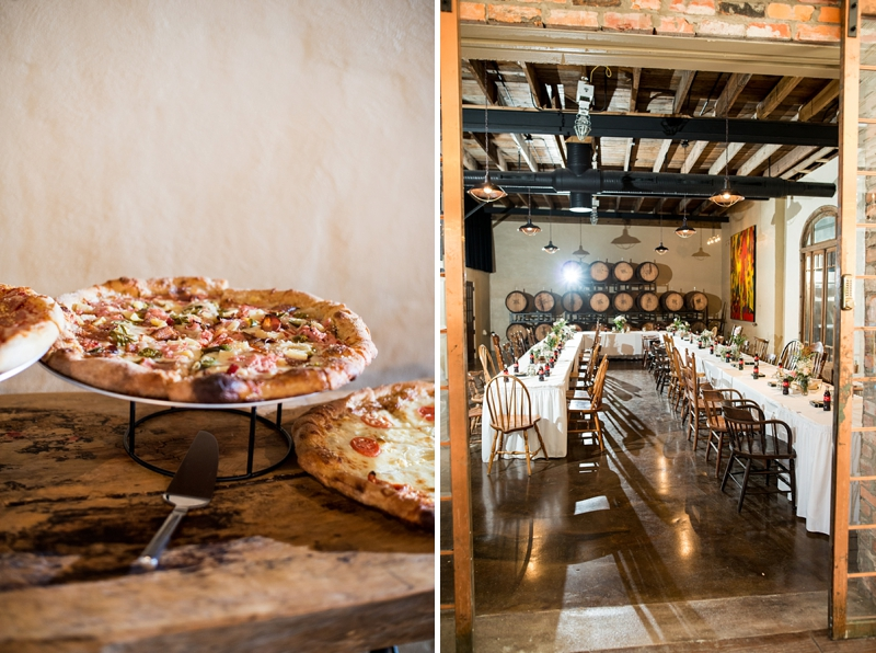 Pizza bar for a rustic Virginia wedding