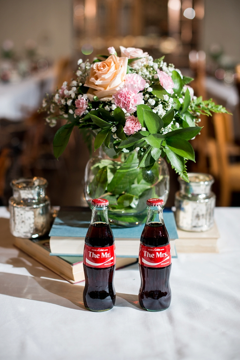 Cute Mr and Mrs Coke bottles for rustic sweetheart wedding table