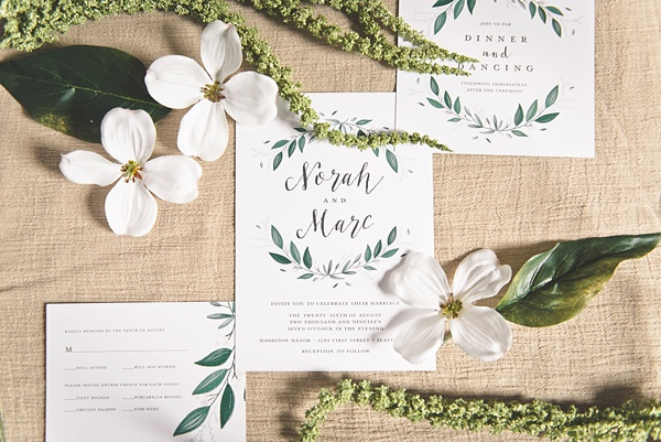 Chic modern romantic wedding invitations with watercolor greenery details from Mixbook