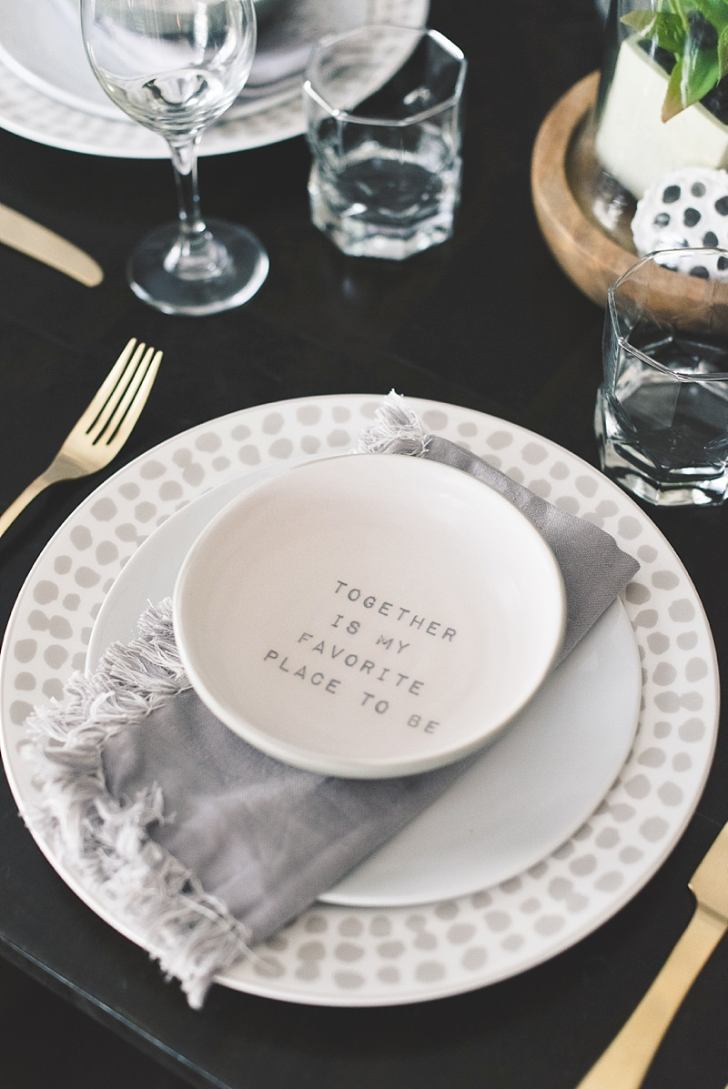 Cozy hygge inspired table setting with Kate Spade dinner plates from Bed Bath and Beyond