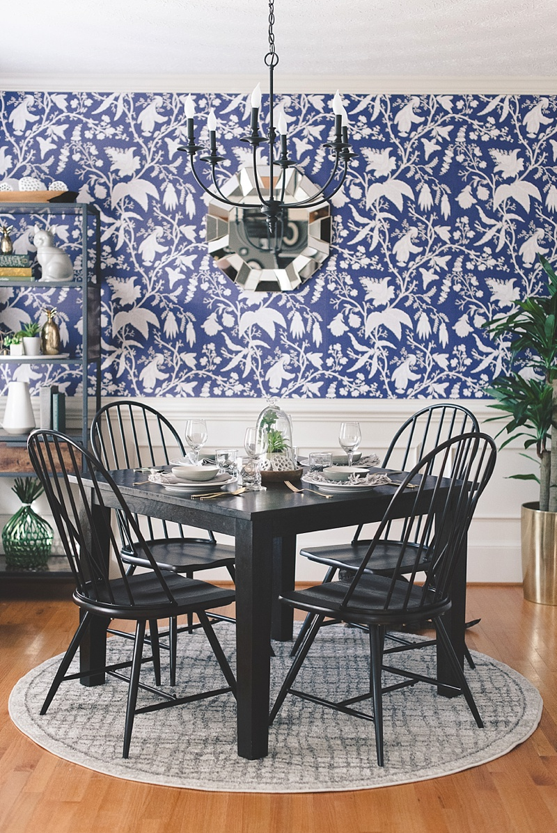Hygge inspired dining room with modern color scheme of indigo and gray