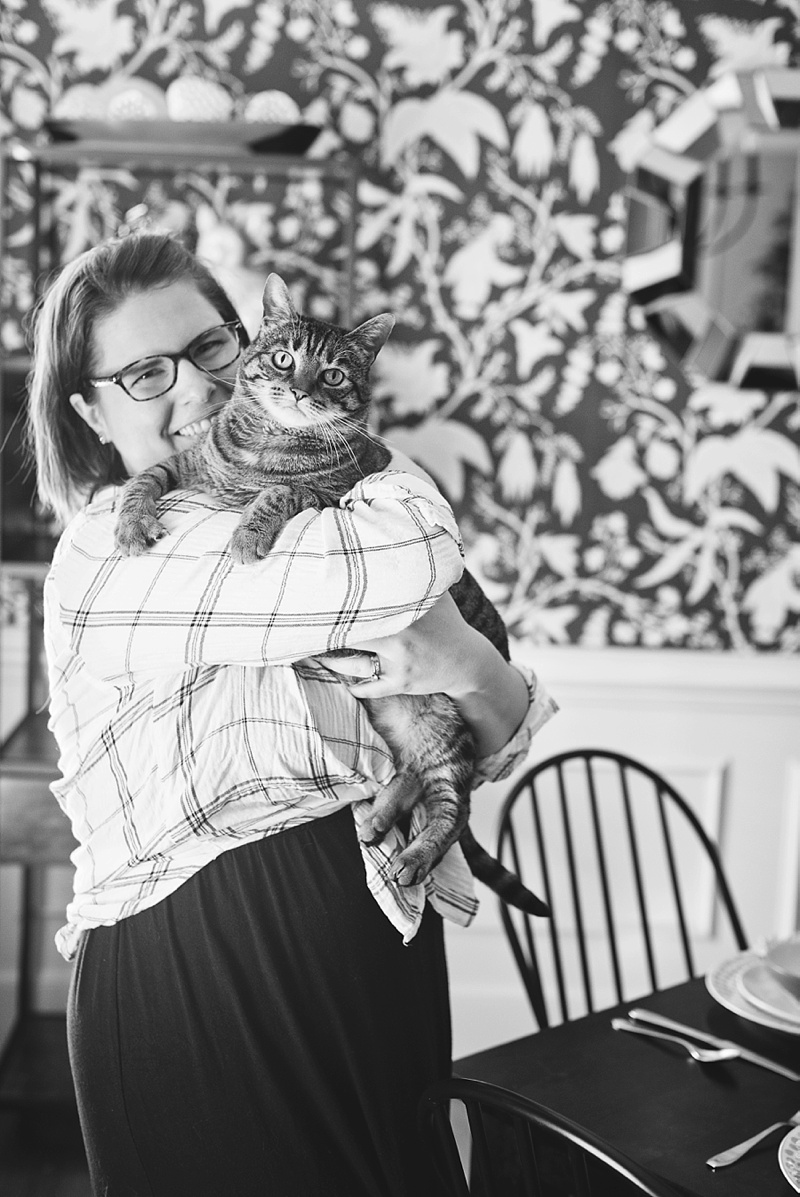 Candid photo of editor in chief Chelsea and her kitty Pickles Barrington