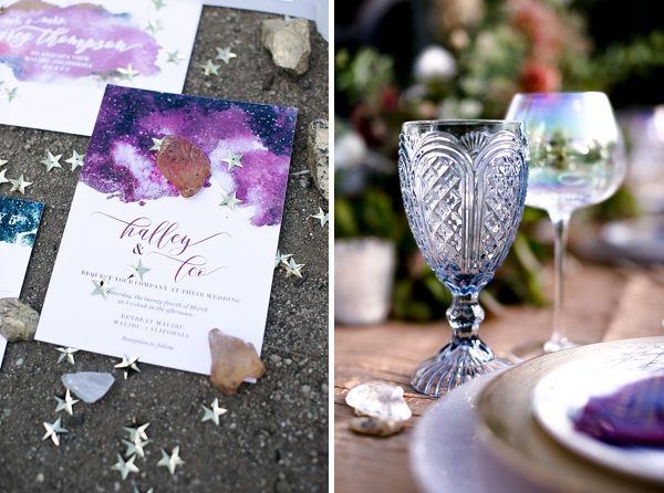 Galaxy inspired wedding invitations with modern calligraphy