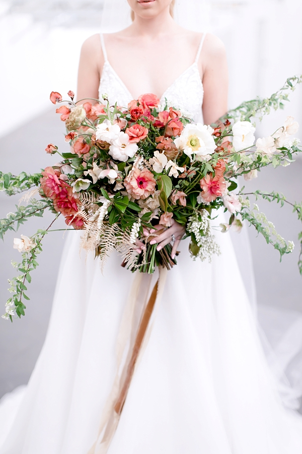 Pink and white organic and wild wedding bouquet for a celestial wedding
