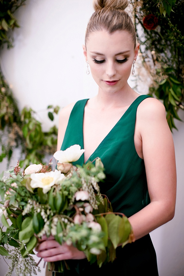 Light and dark wedding eye makeup for a celestial bridesmaid