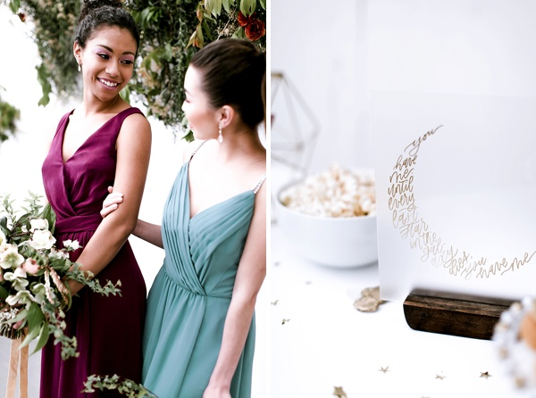 Bridesmaid dresses in wine and teal colors