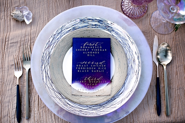 Galaxy inspired acrylic wedding menus with gold calligraphy
