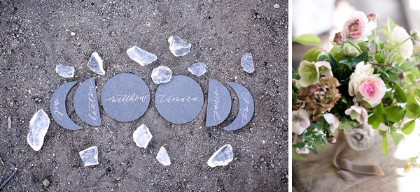 Phases of the moon inspired wedding place cards