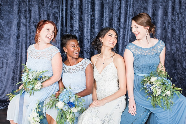 Blue crushed velvet photo backdrop