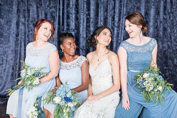 Blue crushed velvet photo backdrop