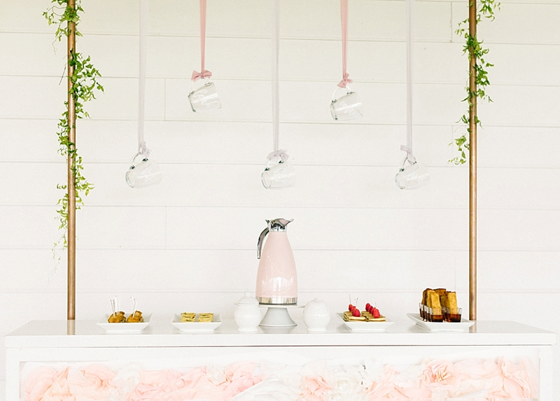 Mini brunch bar with custom coffee mugs and pink coffee decanter