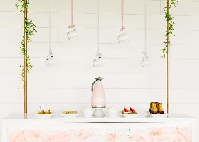 Mini brunch bar with custom coffee mugs and pink coffee decanter