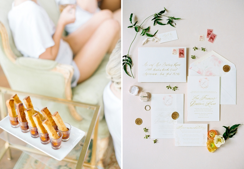Brunch inspired getting ready moment on the wedding day