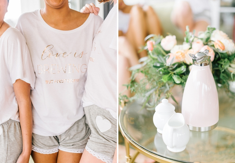 Personalized cozy loose tees by Davids Bridal for cozy morning on the wedding day