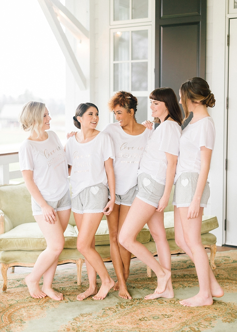 Cute and comfy pajamas for Virginia bridesmaids getting ready