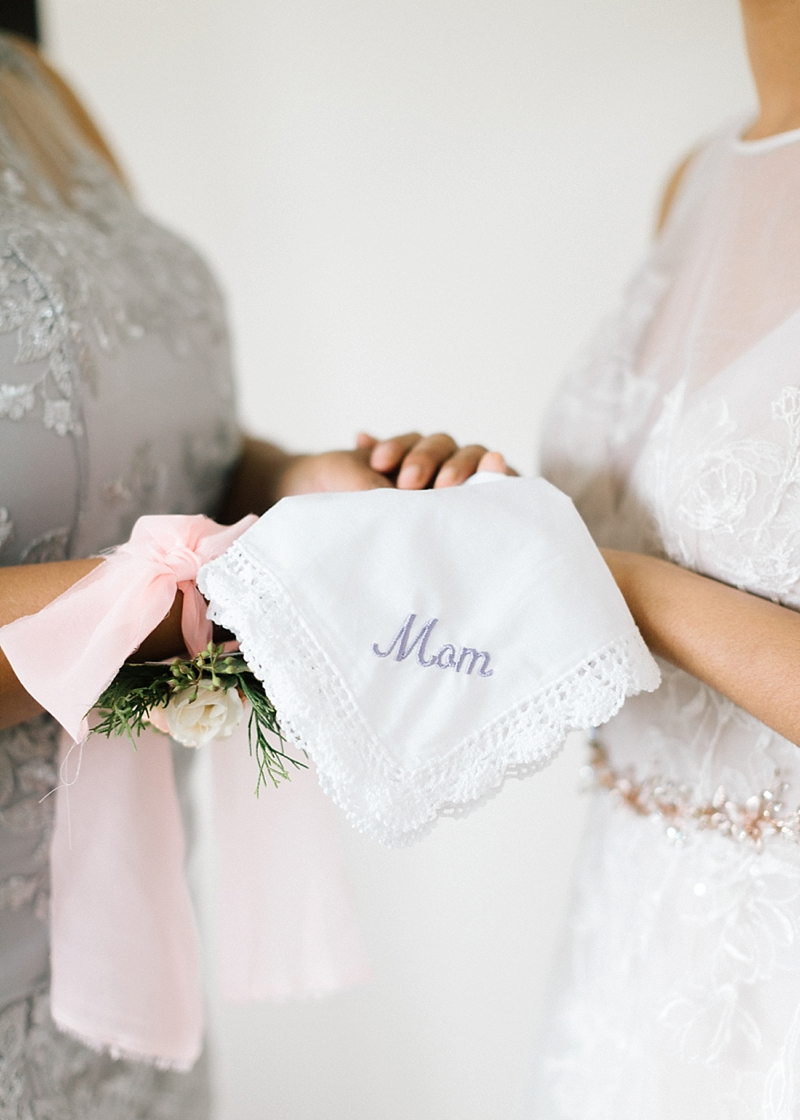 Personalized and embroidered handkerchief for sweet mother of the bride or groom gift