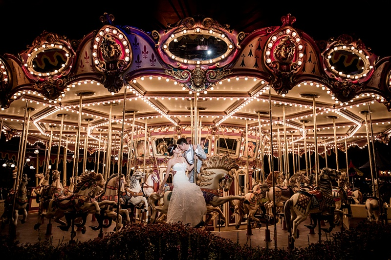 Hong Kong Disneyland wedding portraits in Fantasyland for destination couples