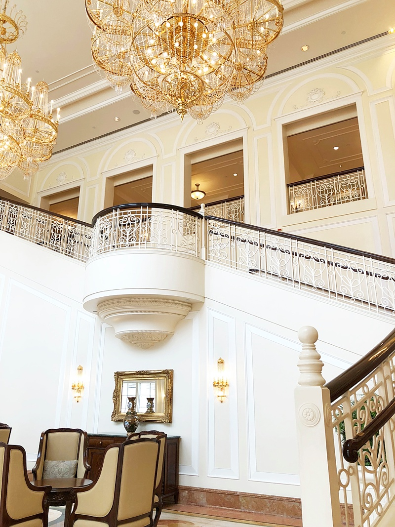 Gorgeous gold chandeliers at Hong Kong Disneyland Hotel for a magical Disney destination wedding