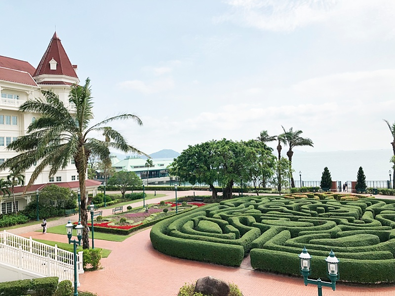 Gorgeous garden labyrinth at the Victorian inspired Hong Kong Disneyland Hotel