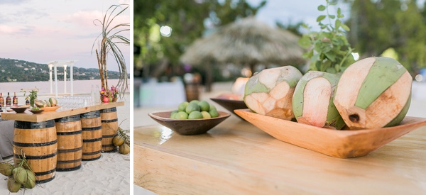 Coconut cocktail bar for unique wedding reception idea at Sandals Resorts